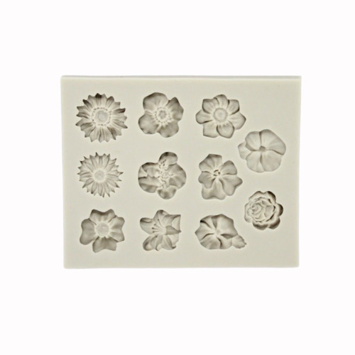 Assorted Flowers 11 Cavity Silicone mold