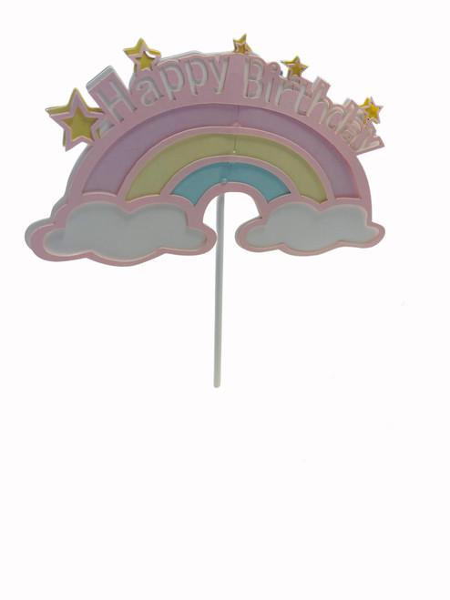 Cake Topper-Happy Birthday with Rainbow