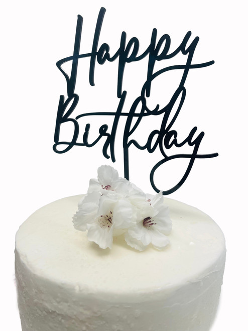 "Acrylic Cake Topper ""Happy Birthday"" - BLACK"