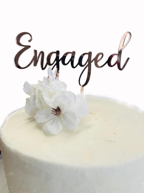Acrylic Cake Topper 'Engaged' -Rose gold