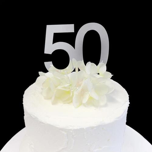 Acrylic Cake Topper 7cm '50' - SILVER
