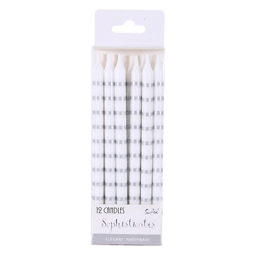Birthday Candles -Silver Stripes