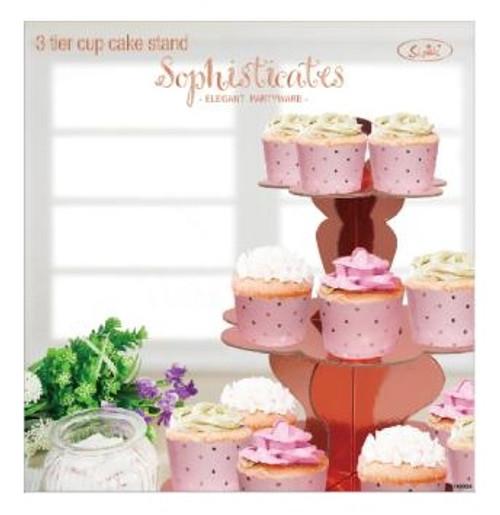 3 Tier Cupcake Stand Metallic Rosegold