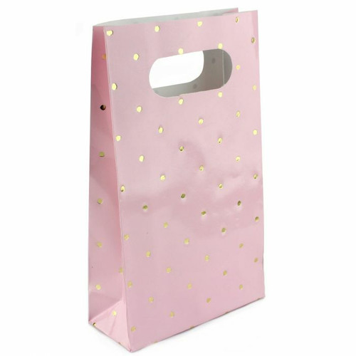 Shmick Party Bags 6pc-Pink with Gold Foiled Dotty