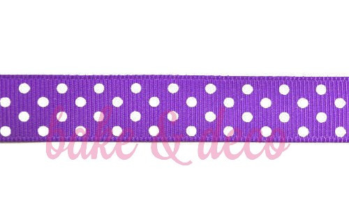 Purple Polkadot Ribbon 15mm