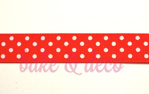 Red Polkadot Ribbon 15mm
