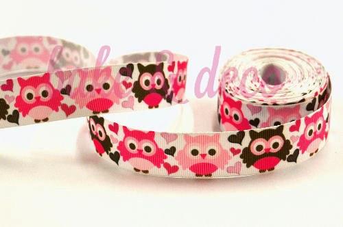 Pink Owl Ribbon 15mm