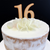 Cake Topper '16' 7cm - WOOD