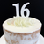 Acrylic Cake Topper '16' 7cm - WHITE