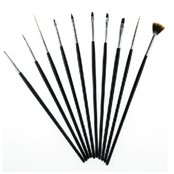 Brush Set 10pc Fine Detail Black Handle