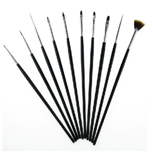 Brush Set 10pc Fine Detail Black Handle