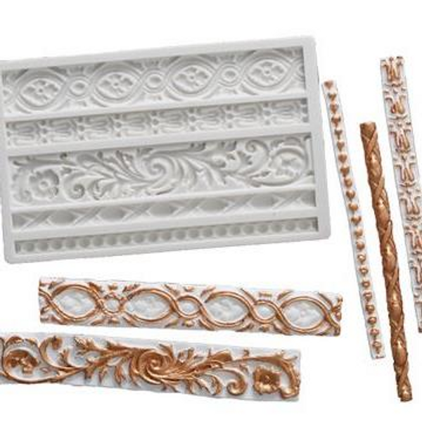 Assorted Pillars & Borders Silicone Mold