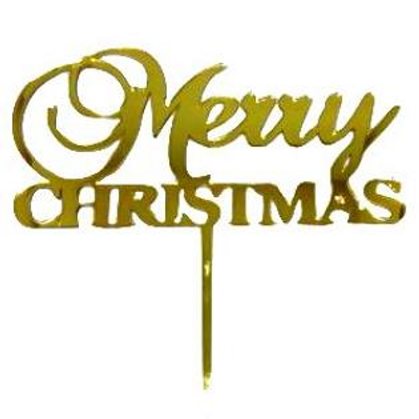 Merry Christmas Acrylic Gold Topper