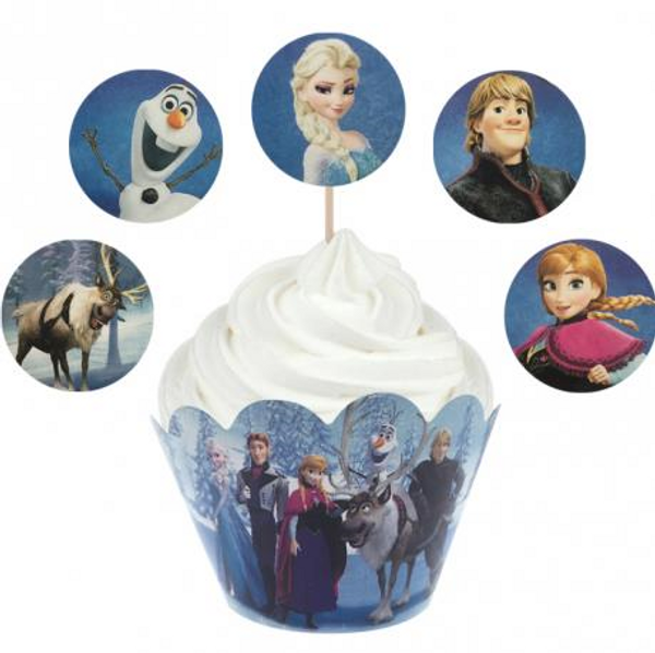 Cupcake Wrap & Toppers 12pc - Frozen
