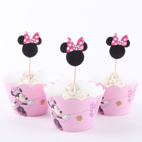 Cupcake Wrap & Toppers 12pc - Minnie Mouse (