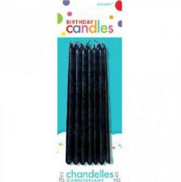 Black Long Candles 12pc