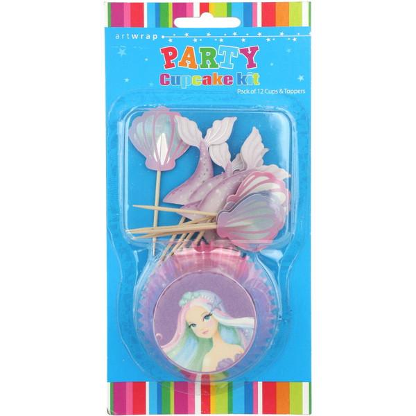 Cupcake Kit Art Wrap 12 Cups & Toppers - Mermaid