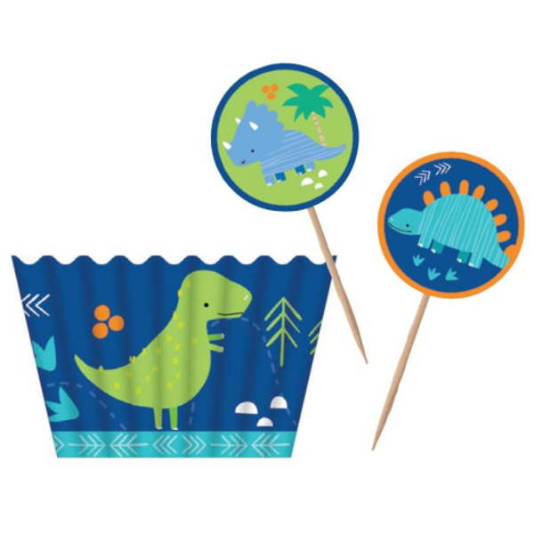 Cupcake Kit Art Wrap 12 Cups & Toppers - Dinosaurs