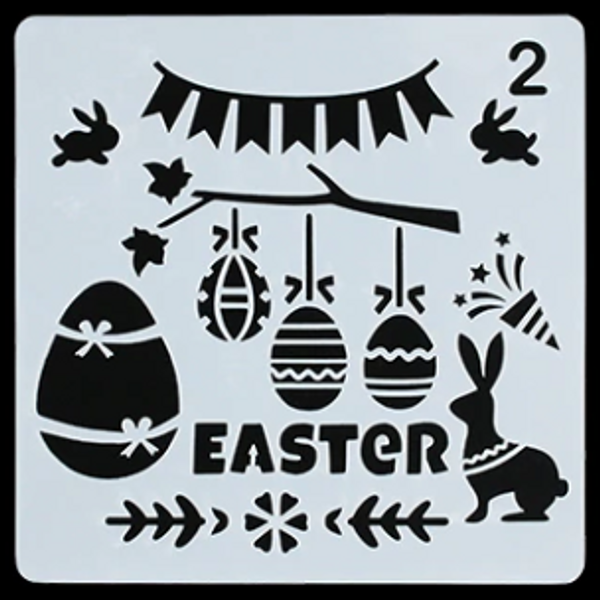 """Easter Stencil """"Happy Easter"""" - Style 2"""