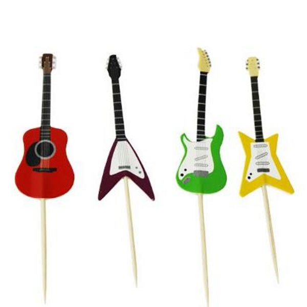 Cupcake Toppers 24pc - Assorted Guitar