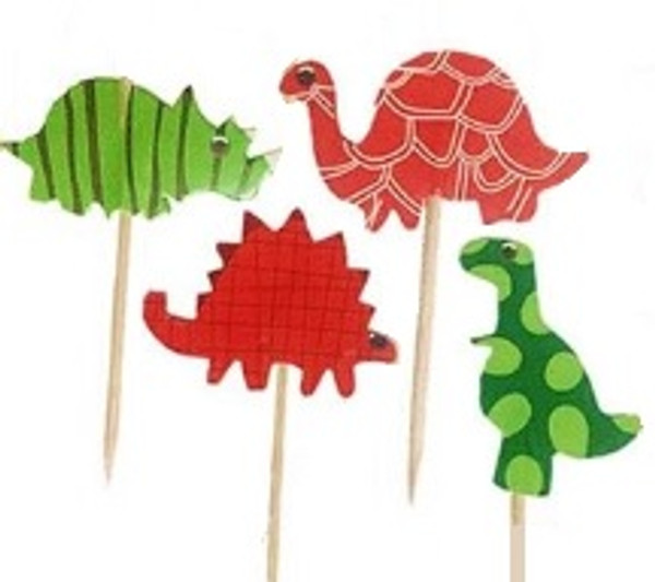 Cupcake Toppers 24pc - Colourful Dinosaurs