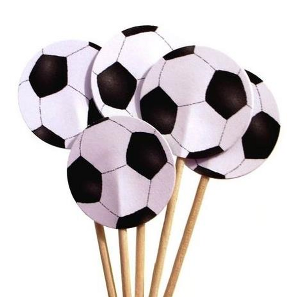 Cupcake Toppers 10pc - Soccer Ball