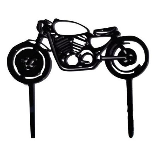 Acrylic Cake Topper Motorbike - Black