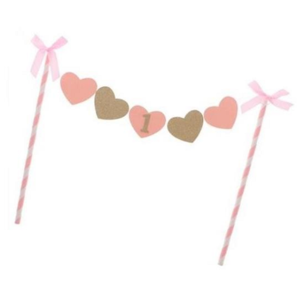 Cake Bunting Happy Birthday  - Pink & Gold Hearts