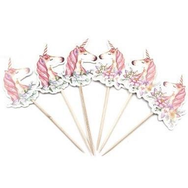 Cupcake Toppers 24pc - Floral Unicorn