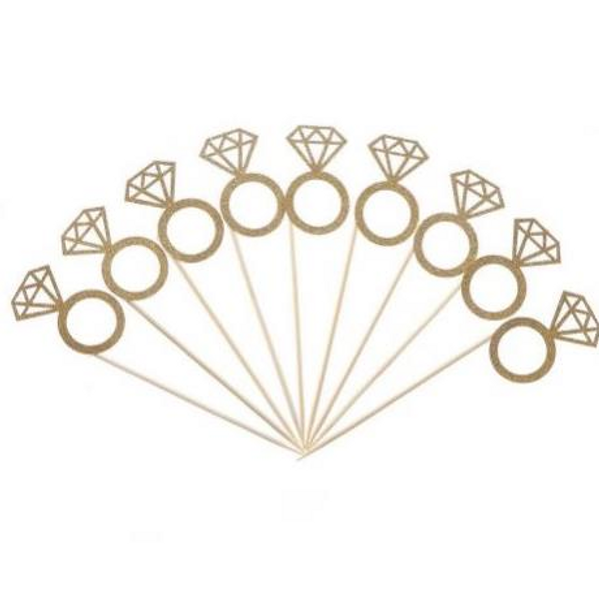 Cupcake Toppers 10pc - Gold Diamond Ring
