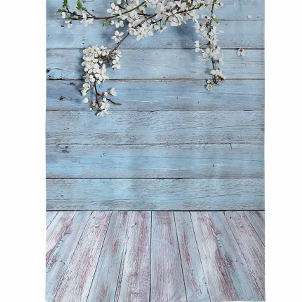 Backdrop 100x150cm - Blue Planks & White Blossom