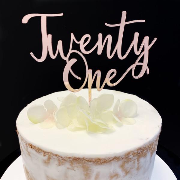 Cake Topper 'TWENTY ONE' (Age Script) - ROSE GOLD