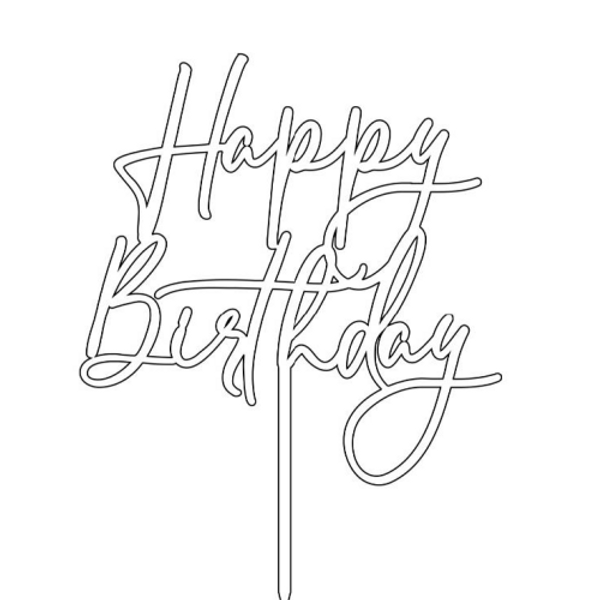 Cake Topper HAPPY BIRTHDAY Script - GOLD