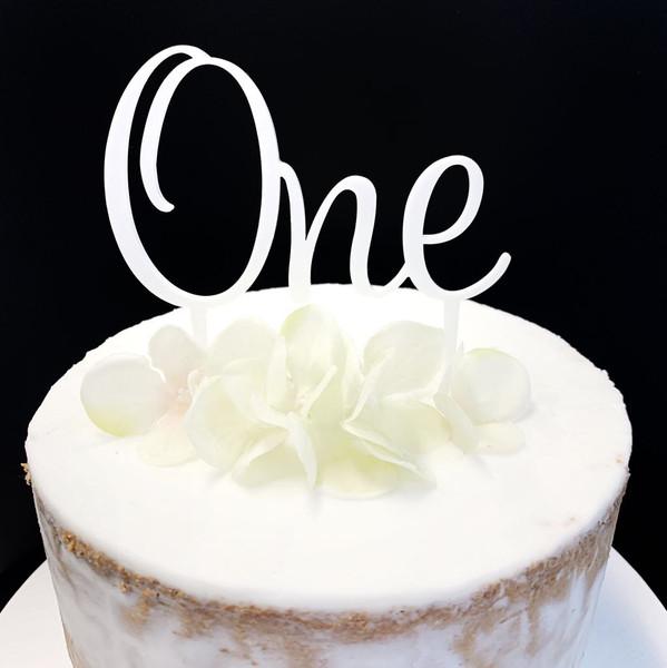 Acrylic Cake Topper ONE - WHITE