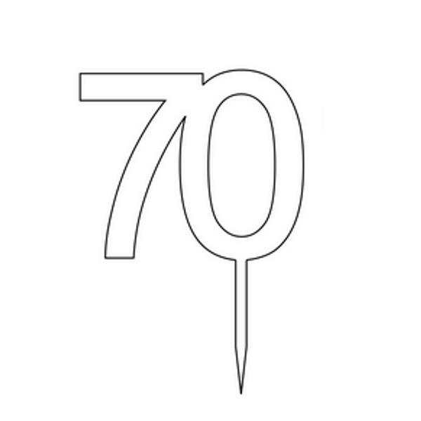 """Cake Topper """"70"""" 7cm - BAMBOO"""