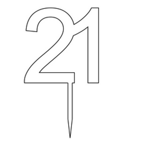 """Cake Topper """"21"""" 8.5cm - BLACK"""