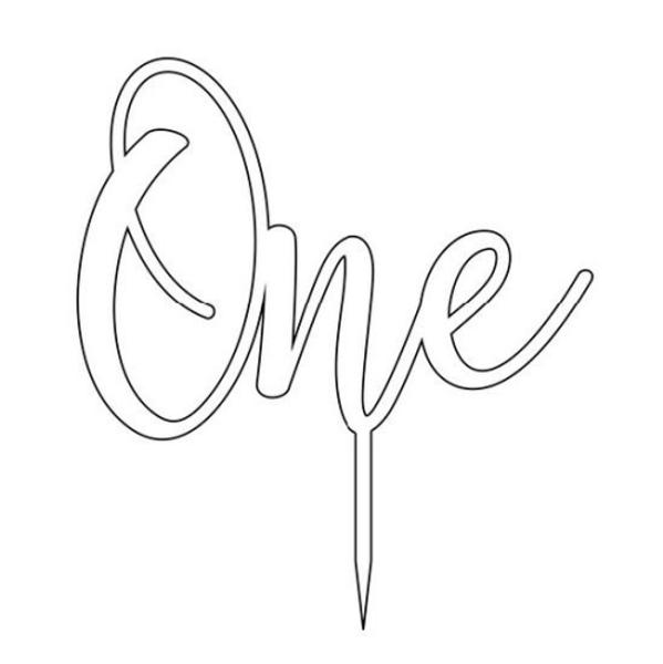 Cake Topper 'ONE' (Age Script) - BAMBOO