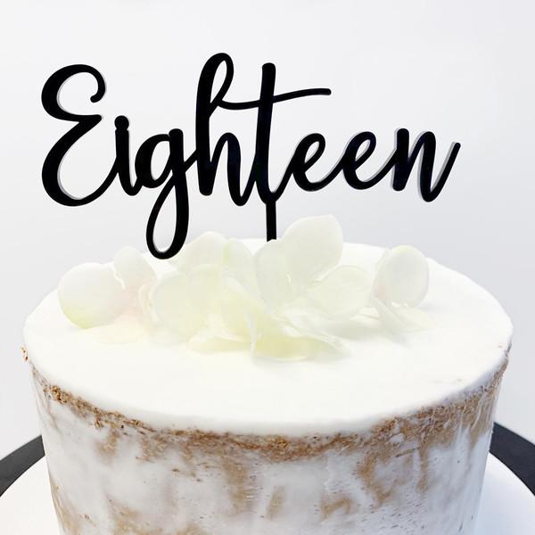 Cake Topper 'EIGHTEEN' (Age Script) - BLACK