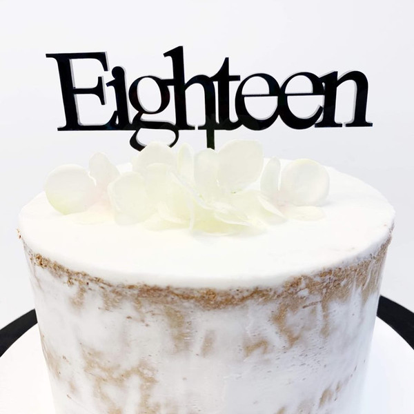 Cake Topper 'EIGHTEEN' (Age Print) - BLACK