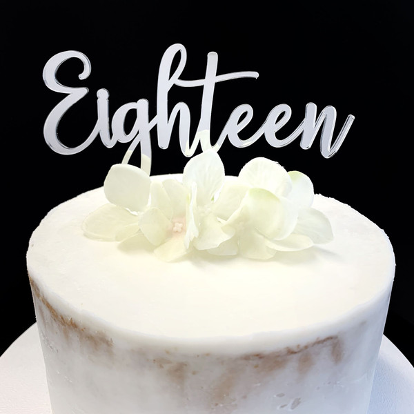 Cake Topper 'EIGHTEEN' (Age Script) - SILVER