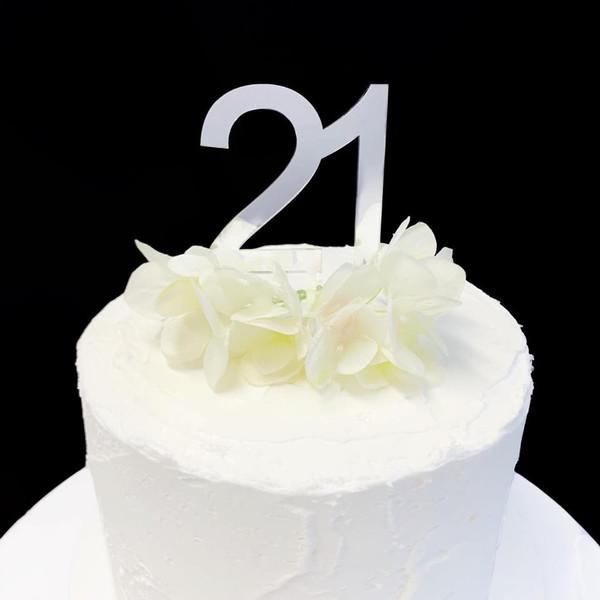 Cake Topper '21' 7cm - SILVER