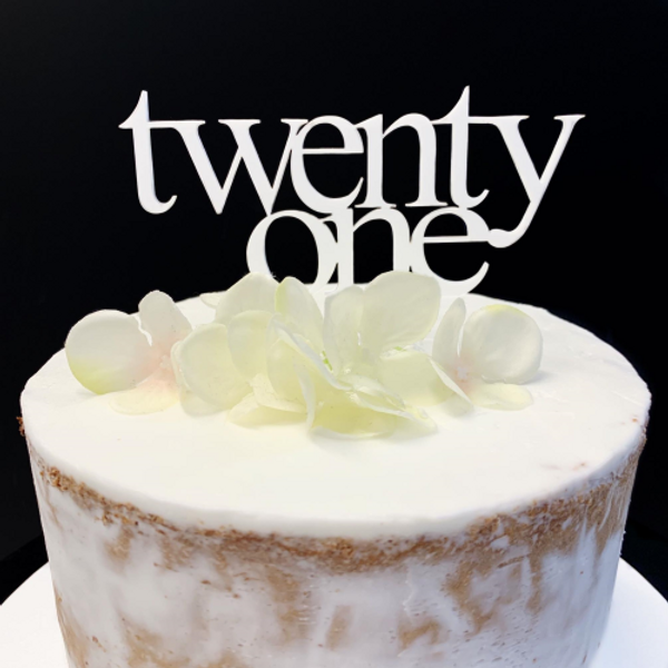 Cake Topper TWENTY ONE (Age Print) - WHITE