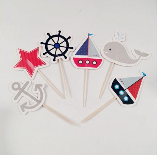 Cupcake Toppers 24pc - Sailing & Ocean