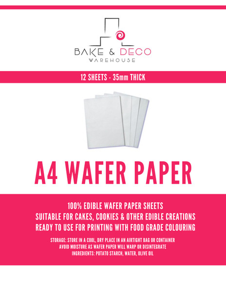 Edible Wafer Paper 12pc -  A4 .35MM