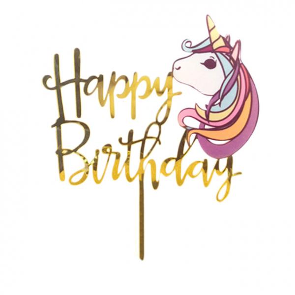 Acrylic Cake Topper - Happy Birthday Unicorn