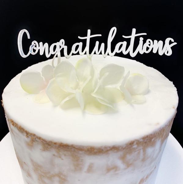 Cake Topper CONGRATULATIONS - SILVER