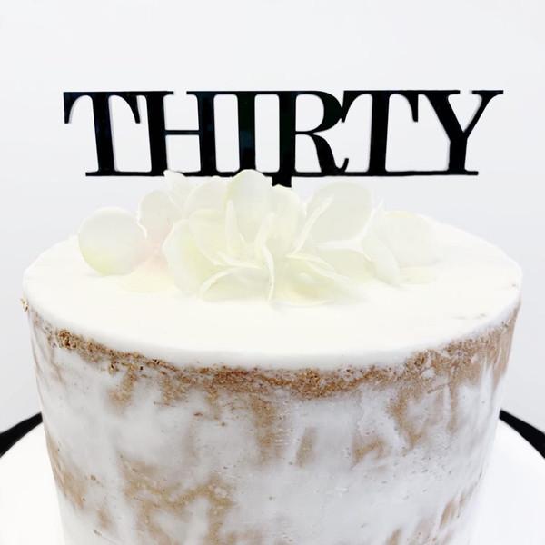 Acrylic Cake Topper 'Thirty' (Age Print) - BLACK