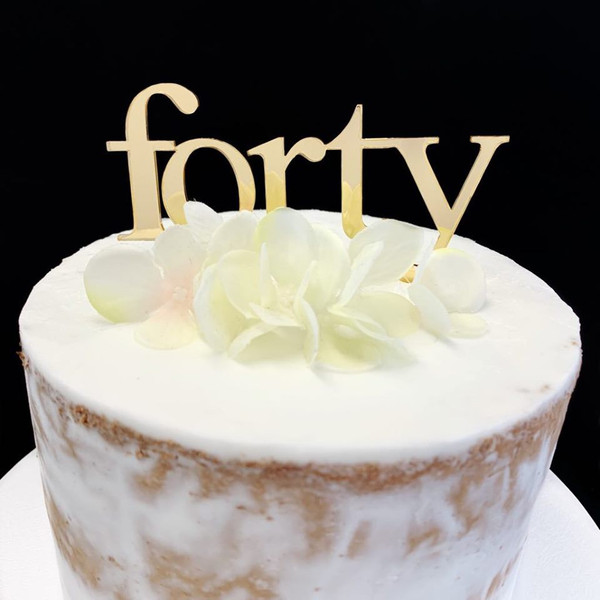 Cake Topper 'Forty' (Age Print) - GOLD