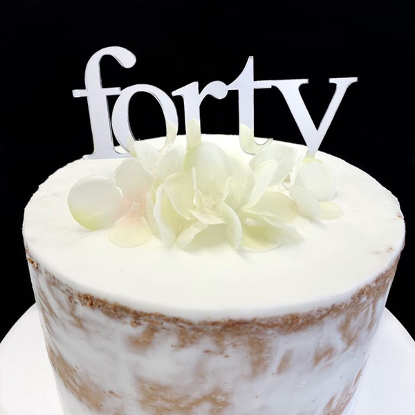 Cake Topper 'Forty' (Age Print) - SILVER