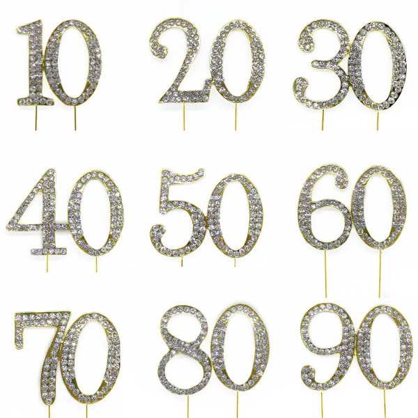 Number Diamonte Topper 4cm - GOLD